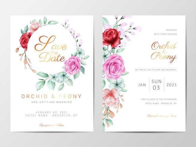 Invitation de mariage floral sertie de fleurs vecteur