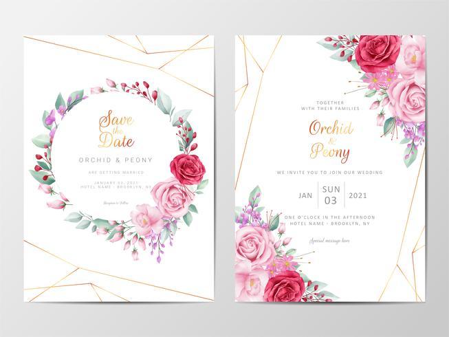 Set d'invitation de mariage floral moderne vecteur