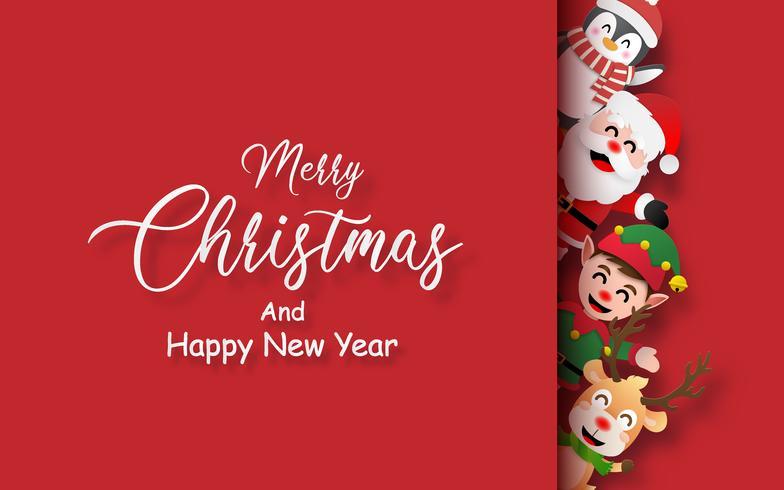 Joyeux Noël et bonne année carte vecteur