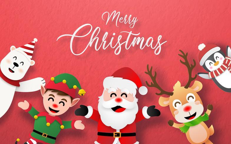 Joyeux Noël carte avec personnage de Noël vecteur
