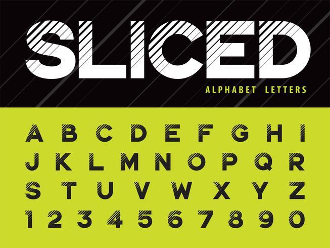 Glitch Modern Alphabet Lettres et chiffres vecteur