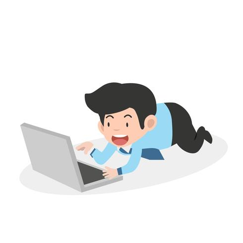 homme d'affaires travaillant sur un ordinateur portable vecteur