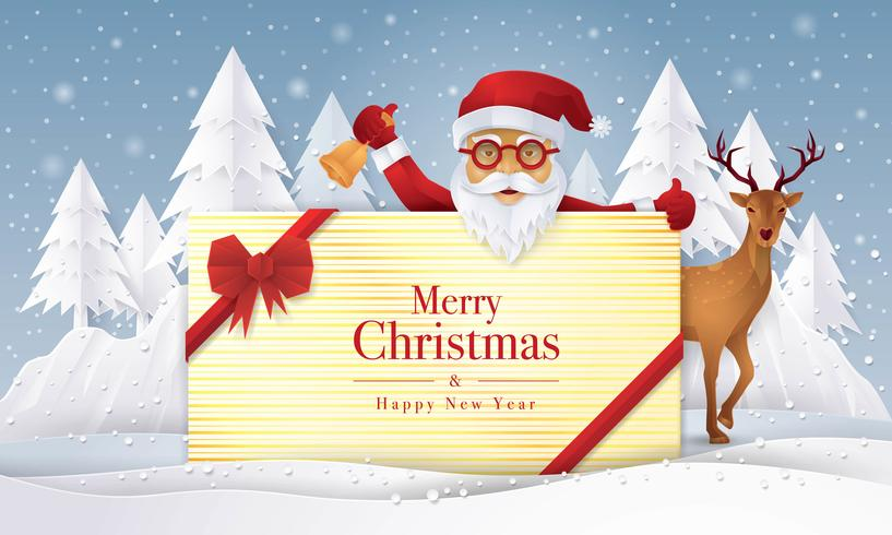 Père Noël et renne tenant cadeau avec carte de voeux joyeux Noël vecteur
