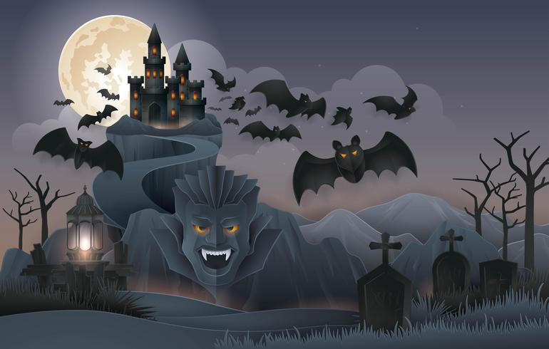 Nuit d'Halloween avec le château abstrait de Dracula, le rocher, la montagne vecteur