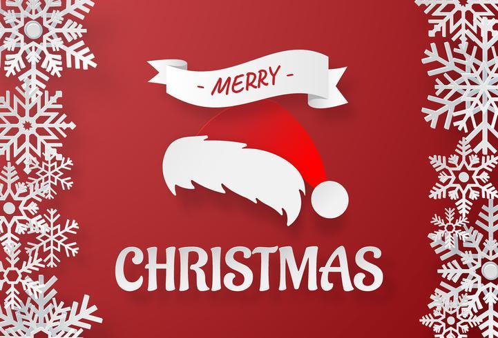 Art de papier origami du chapeau du père Noël avec flocon de neige sur fond rouge vecteur