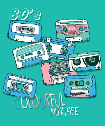 Set d'illustration cassette vintage dessinés à la main vecteur