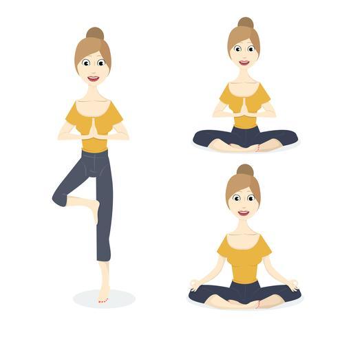 Set de pose de yoga vecteur