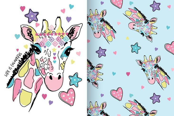 La vie est coloré ensemble dessiné à la main girafe vecteur