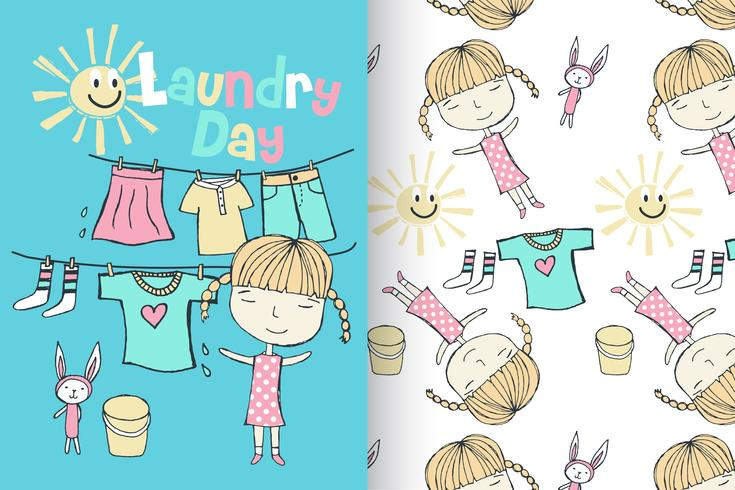 Blanchisserie Dau Cute Girl Pattern Set vecteur