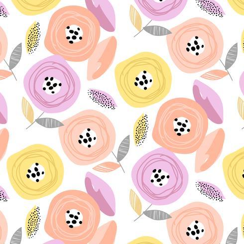 Modèle de fleur de fleur pastel rétro dessiné à la main vecteur