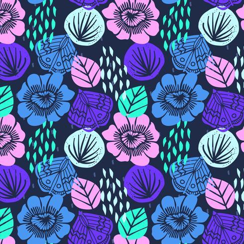 Motif floral brillant vif dessiné à la main vecteur