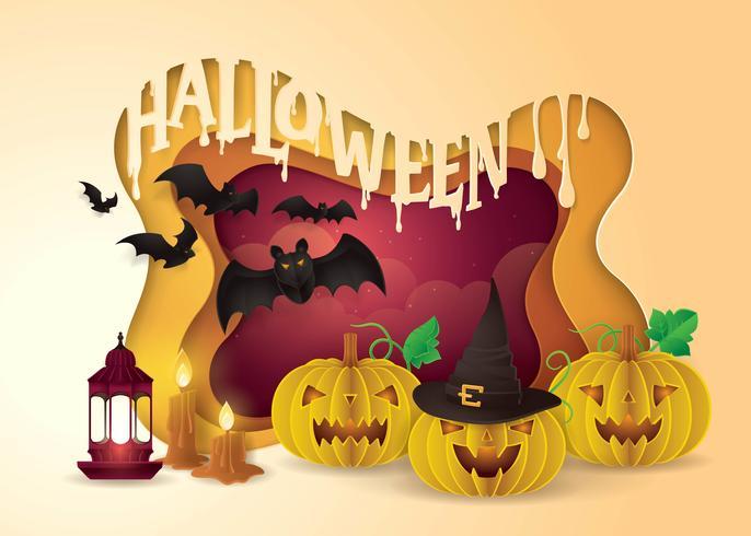 Cadre de fête joyeux halloween vecteur