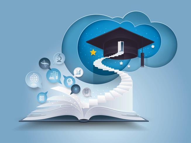 Livre ouvert avec un escalier vers le bonnet de graduation vecteur
