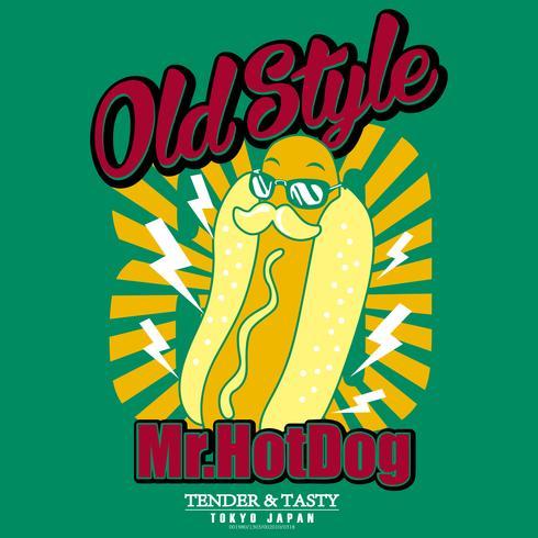 Illustration de hot-dog dessiné à la main vecteur