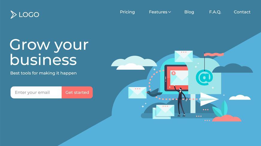 Email marketing design plat modèle page illustration personne personne minuscule vector illustration