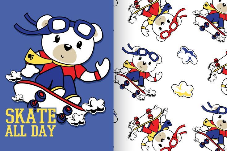 Motif d'ours dessiné à la main toute la journée skate vecteur