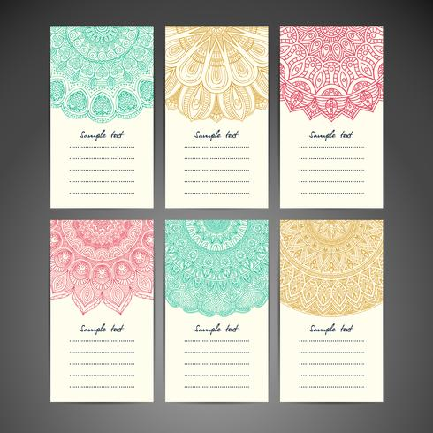 Set de cartes de correspondance Mandala vecteur
