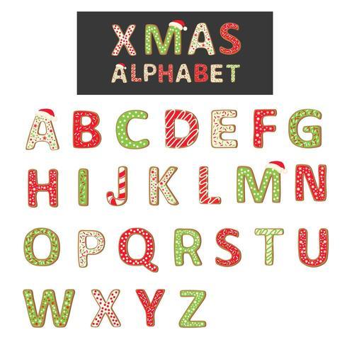 Alphabet de biscuits de Noël de vecteur isolé sur blanc