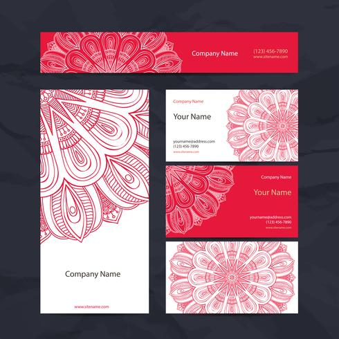 Set de cartes de visite mandala rose vecteur