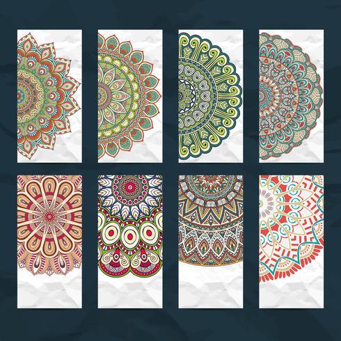 Set de cartes de visite Mandala vecteur