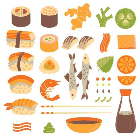 Ensemble de sushi vecteur