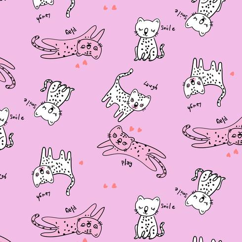 Motif de chat espiègle rose et blanc dessiné à la main vecteur