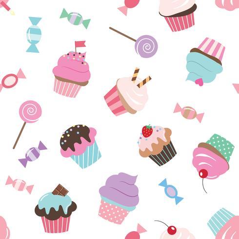Modèle sans couture anniversaire avec des bonbons. vecteur