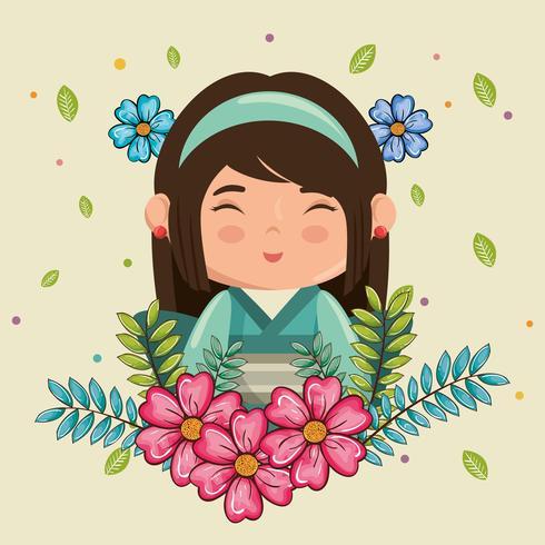 Kawaii, fille japonaise souriante avec personnage de fleurs vecteur
