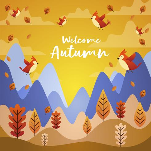 Oiseaux volant en automne saison Cartoon Illustration vecteur