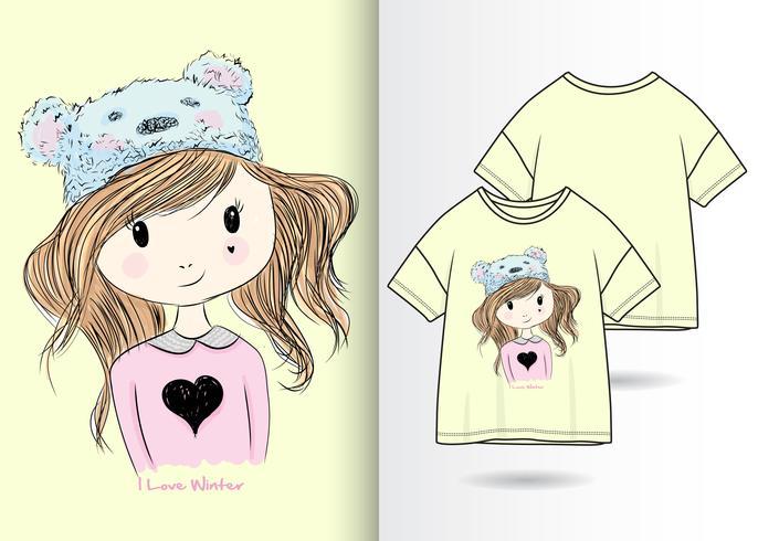 Main dessinée jolie fille avec un design t-shirt vecteur