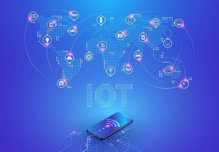 Internet des objets et connexion réseau vecteur