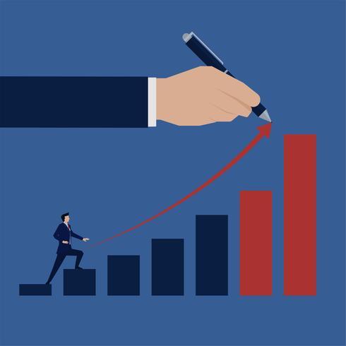Homme d'affaires grimpe dans le graphique à barres vecteur