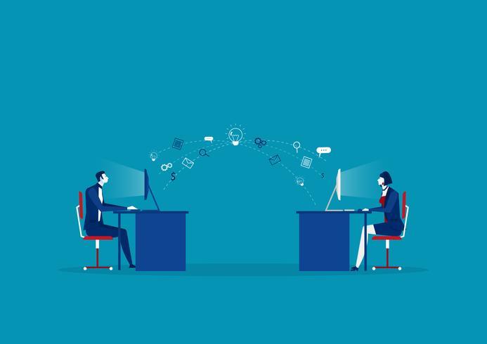 entreprise envoyer des informations au concept créatif sur ordinateur vecteur