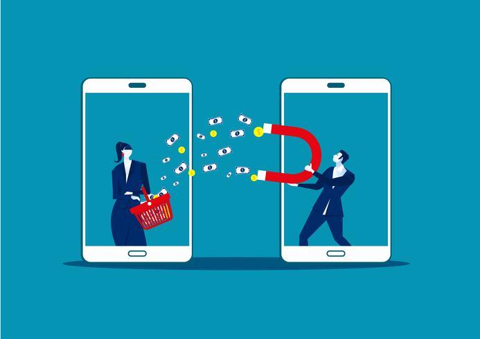 Homme d'affaires tenant un gros aimant et attirer de l'argent depuis un magasin mobile vecteur