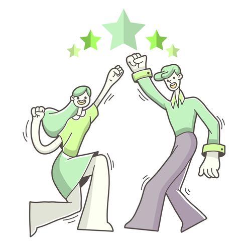 Illustration de réussite objectif garçon et fille vecteur