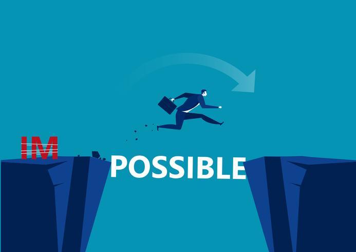 Homme d'affaires prenant le risque de sauter par-dessus le fossé avec le mot possible vecteur