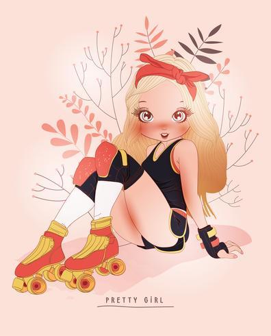 Main dessinée jolie fille portant des patins avec fond de fleur vecteur