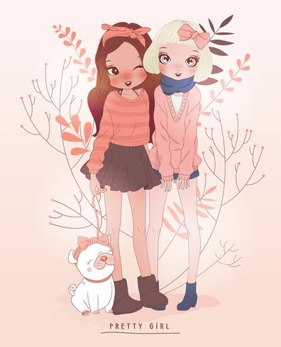 Main dessiné filles mignonnes et chien avec fond de fleur vecteur