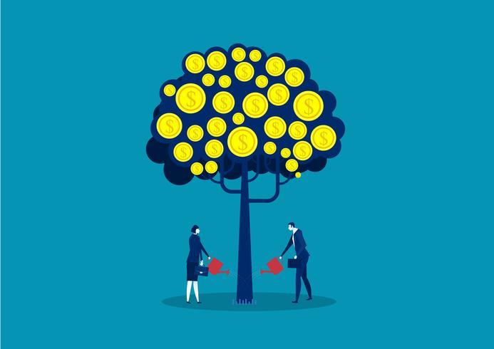 gens d'affaires arroser l'arbre d'argent vecteur
