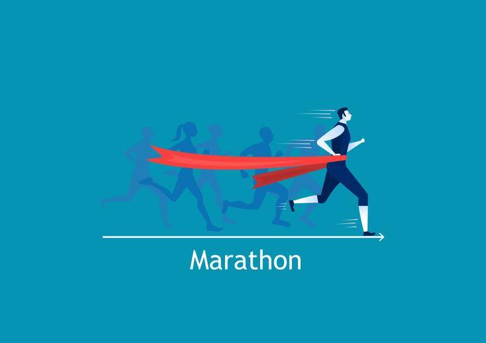 Homme sprint courir pour gagner sur fond bleu vecteur