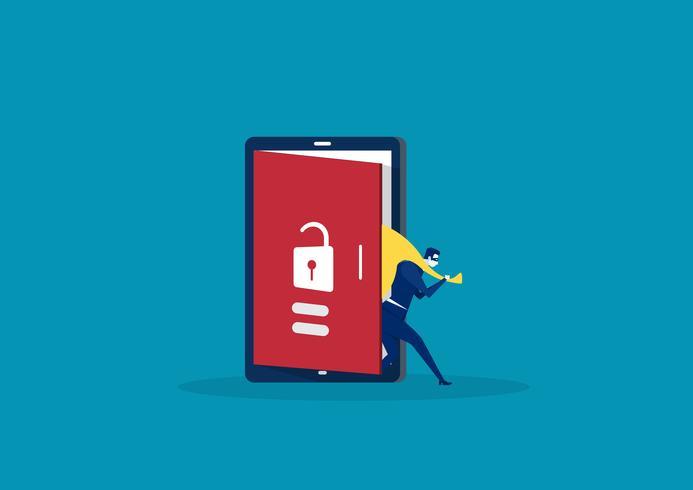 Hacker sort de l'écran du téléphone intelligent après son activité criminelle vecteur