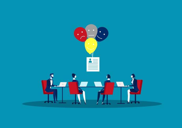 Concept de recrutement de ressources humaines avec fiches, cartes et affiches vecteur