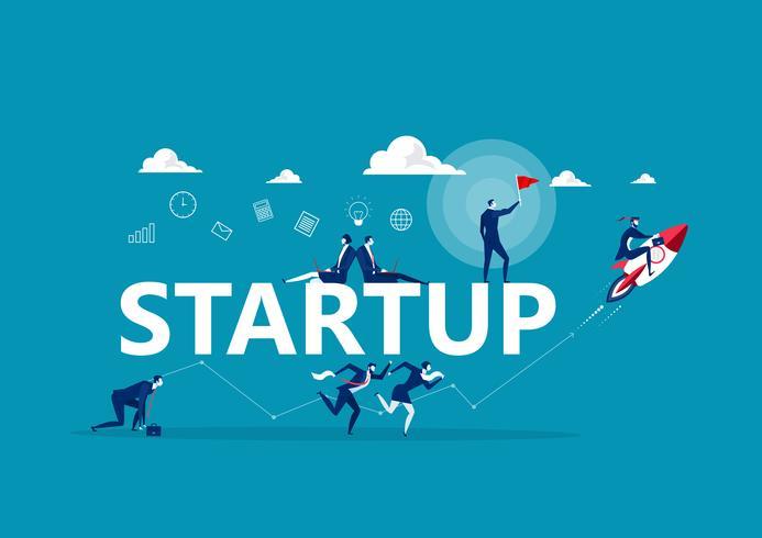 Personnes faisant différentes activités commerciales autour du mot Startup vecteur