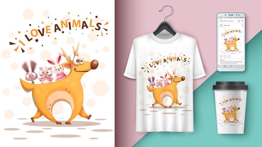 Cerf, lapin, chat en dessin animé - maquette pour votre idée vecteur