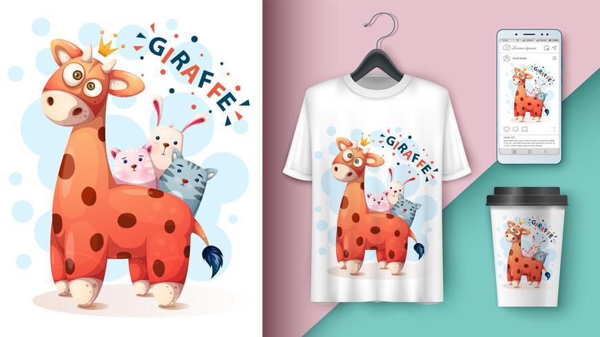 Girafe, chat, chat, lapin - maquette pour votre idée vecteur