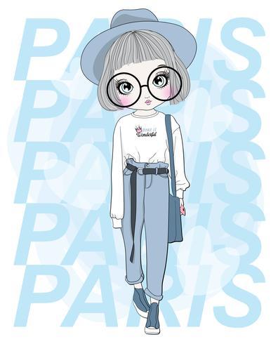 Main dessinée jolie fille à grandes lunettes avec la typographie de Paris vecteur