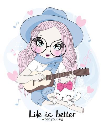 Main dessinée jolie fille tenant une guitare avec un chat vecteur