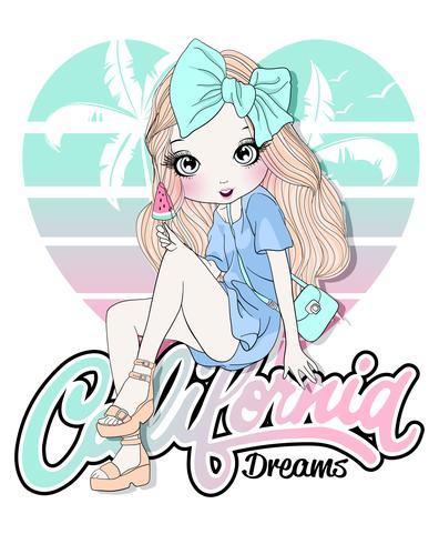Main dessinée jolie fille assise sur la typographie California Dreams vecteur