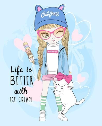 Main dessinée jolie fille tenant une glace avec un chat vecteur