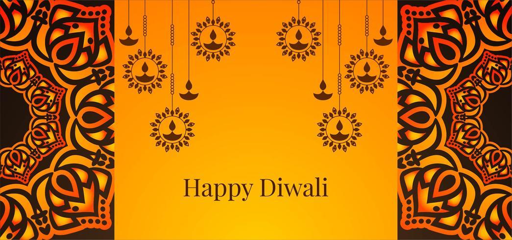 Suspension de diya Happy Diwali design vecteur